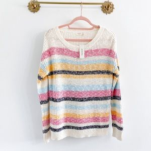 Francesca's Colorblock Stripe Cotton Sweater